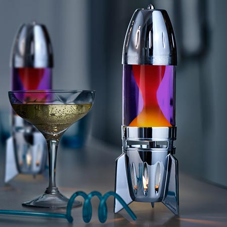 Fireflow candle lava lamp - Silver. Free shipping