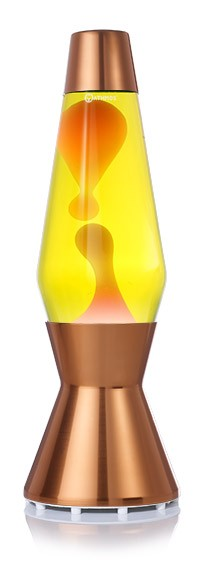 Mathmos Astro Copper Lava lamp - yellow with Orange Lava